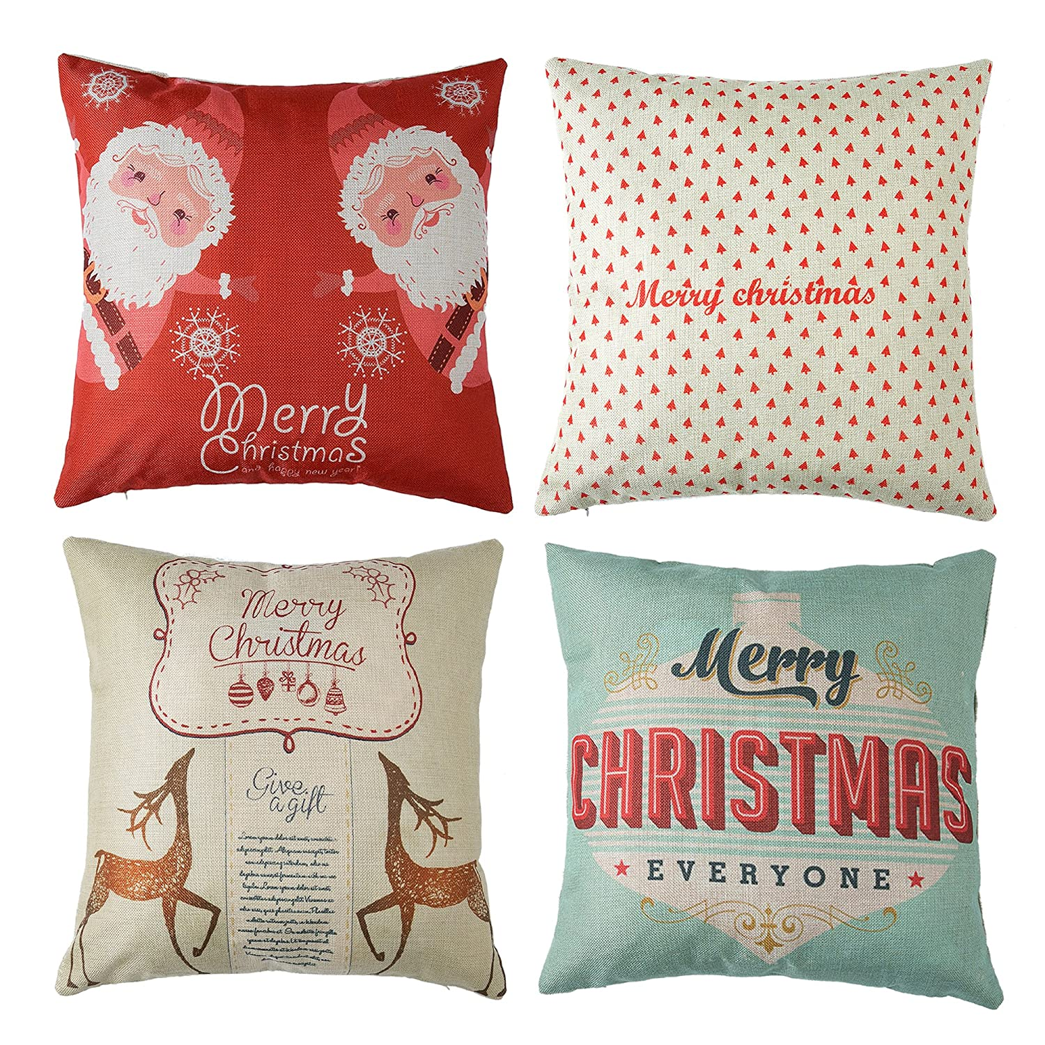 4pk Happy Holidays Print Throw Pillow Cases Christmas Gift Sofa Cushion Pillow Covers 18' x 18' Xorastra