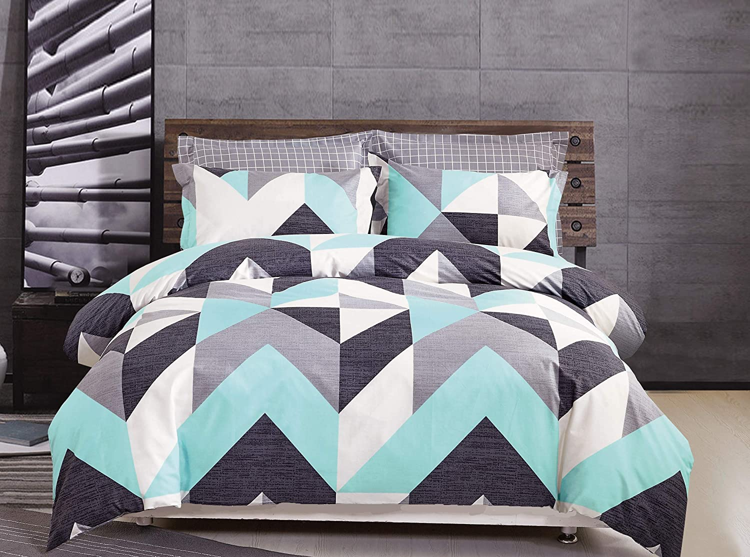 FADFAY Geometric Duvet Cover Set Full Colorful Blue-Green Gray White Black Duvet Cover Set 100% Cotton Super Soft Hypoallergenic with Hidden Zipper Closure 3 Pieces Full Size