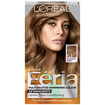 Lu0027Oréal Paris Feria Permanent Hair Color, 63 Sparkling Amber (Light Golden  Brown Photo
