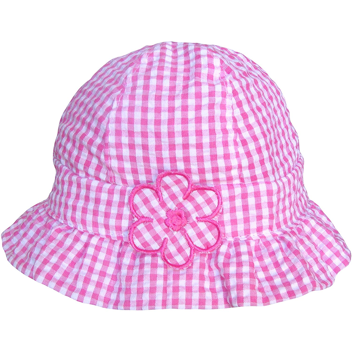 Baby Girls Pink & White Gingham Pattern Daisy Summer Sun Beach Hat