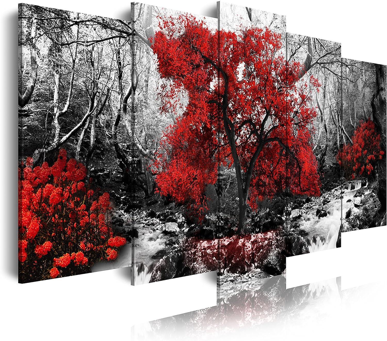 DekoArte - Cuadros Modernos Impresión de Imagen Artística Digitalizada | Lienzo Decorativo Para Tu Salón o Dormitorio | Estilo Naturalez Blanco y Negro con Árboles Rojos | 5 Piezas 200 x 100 cm XXL