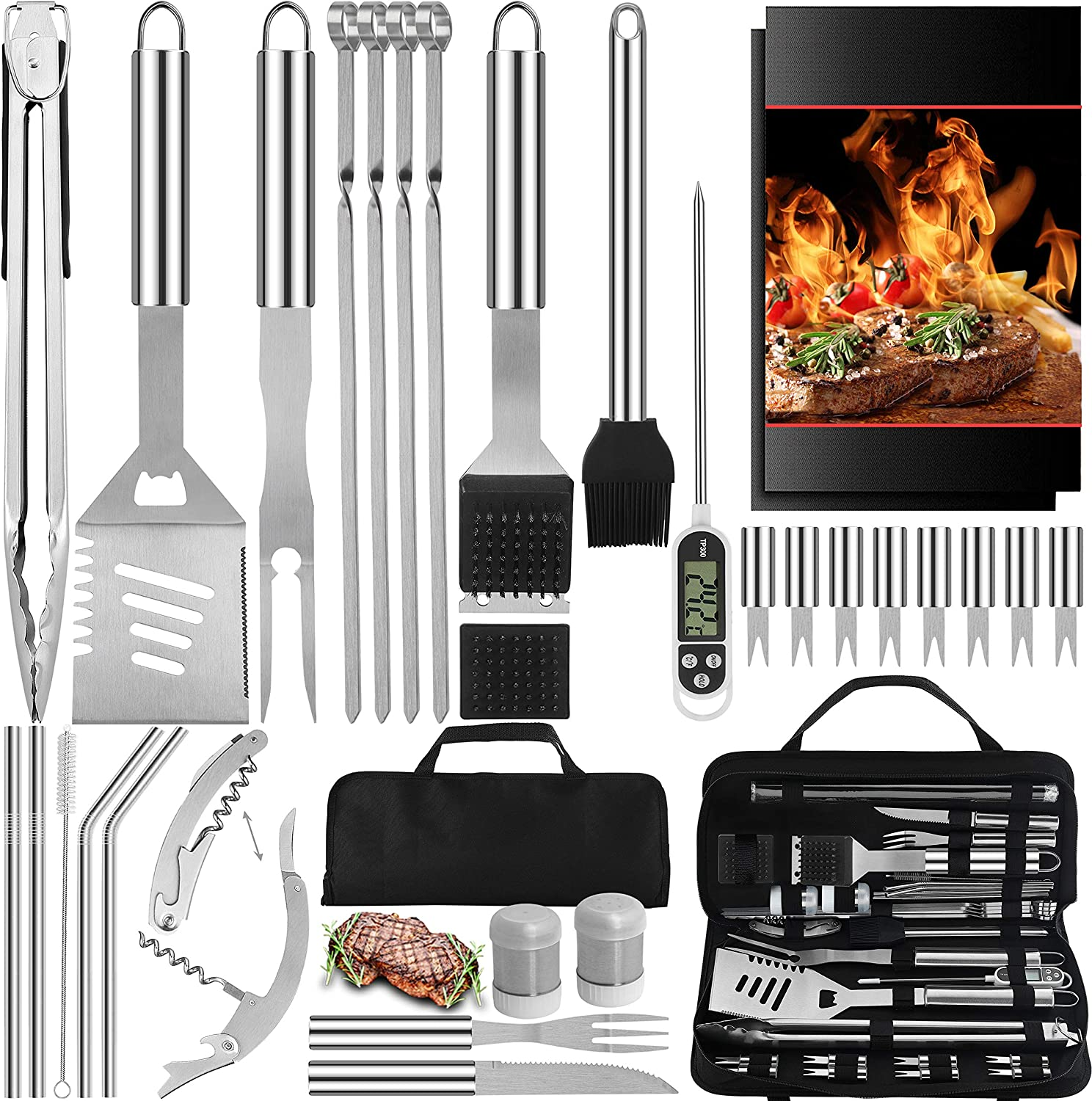 2 Pc Set Under The Grill Mat /& Grilling Spatula by New Pig Gift for Dad 3 x 5 Outdoor Grill Pad /& 18 BBQ Spatula BBQ Grill Set Gift for Dad