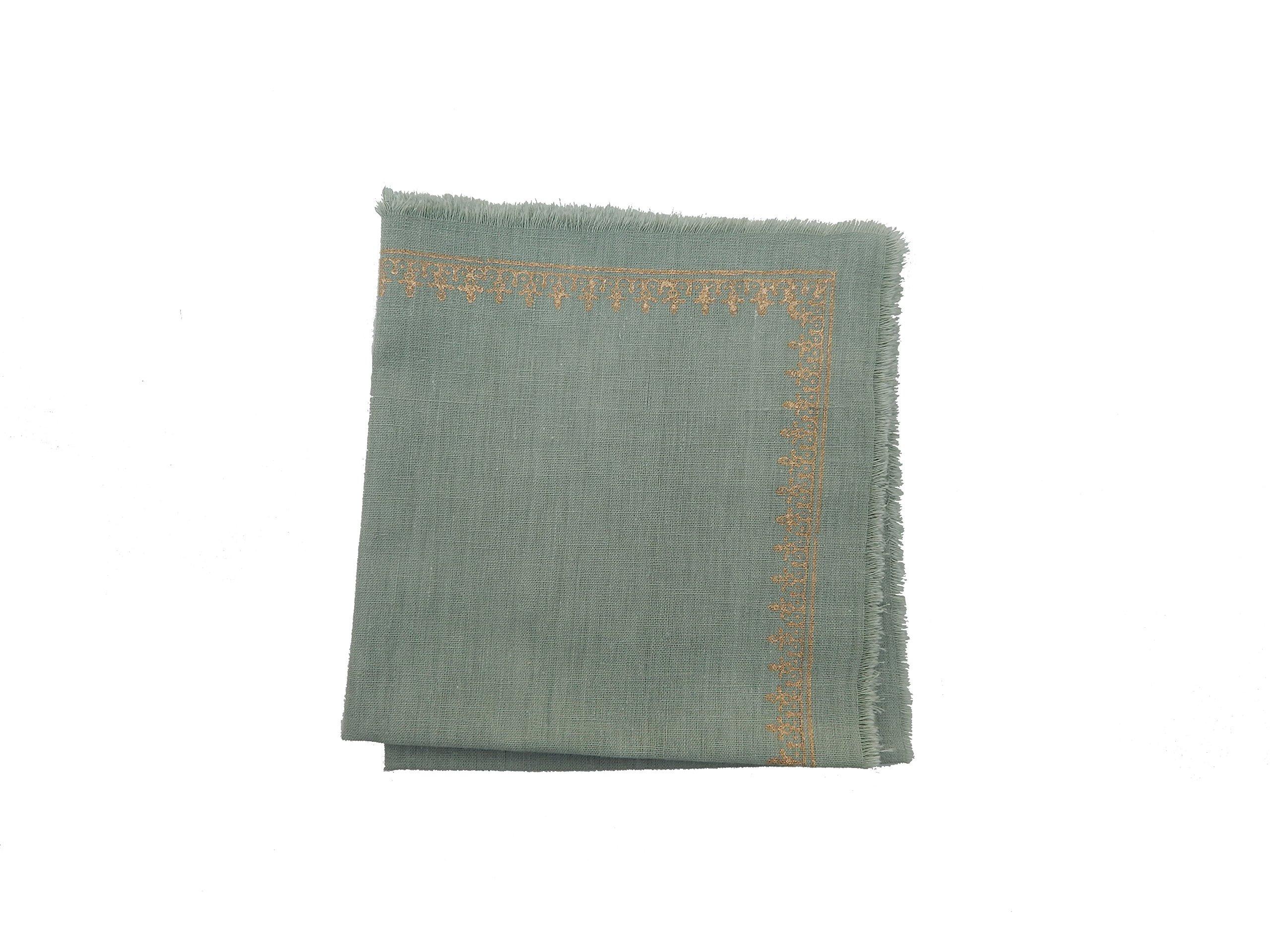Gitika Goyal Home Cotton Khadi Gold Hand Block Printed 17x17 Napkin Small Kangura Design (Set of 4), Patina