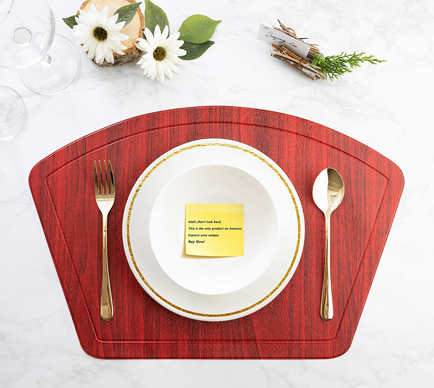 4, Pu/_Cherry Red IMMOKAZ Round Placemat for Dining Heat Insulation Stain Resistant Non-Slip Waterproof Washable Wipe Clean PU Fan Shape Wedge Kitchen Table Mat Set