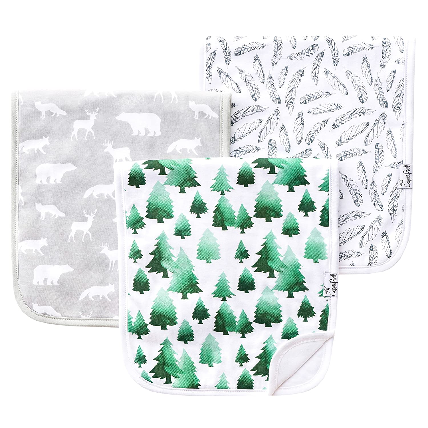 """Baby Burp Cloth Large 21x10 Size Premium Absorbent Triple Layer 3 Pack Gift Set For Boys /""""Woodland Set/"""" by Copper Pearl"""