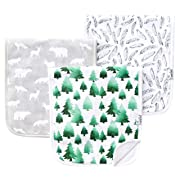 "Baby Burp Cloth Large 21''x10'' Size Premium Absorbent Triple Layer 3 Pack Gift Set for Boys ""Woodland Set"" by Copper Pearl"