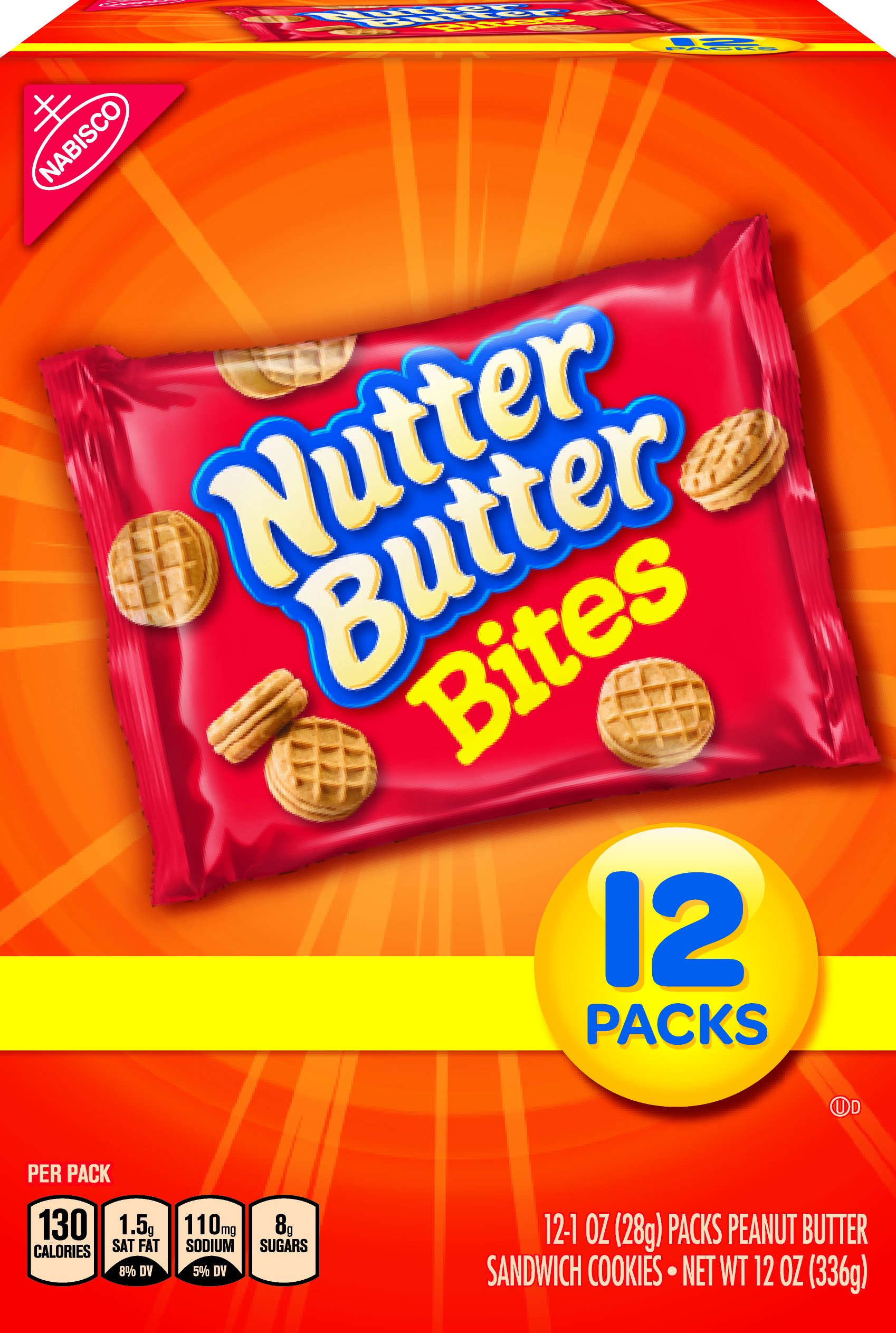 Nutter Butter Bites Peanut Butter Sandwich Cookies - Snack Packs, 12 Count Box, 12 Ounce (Pack of 4)