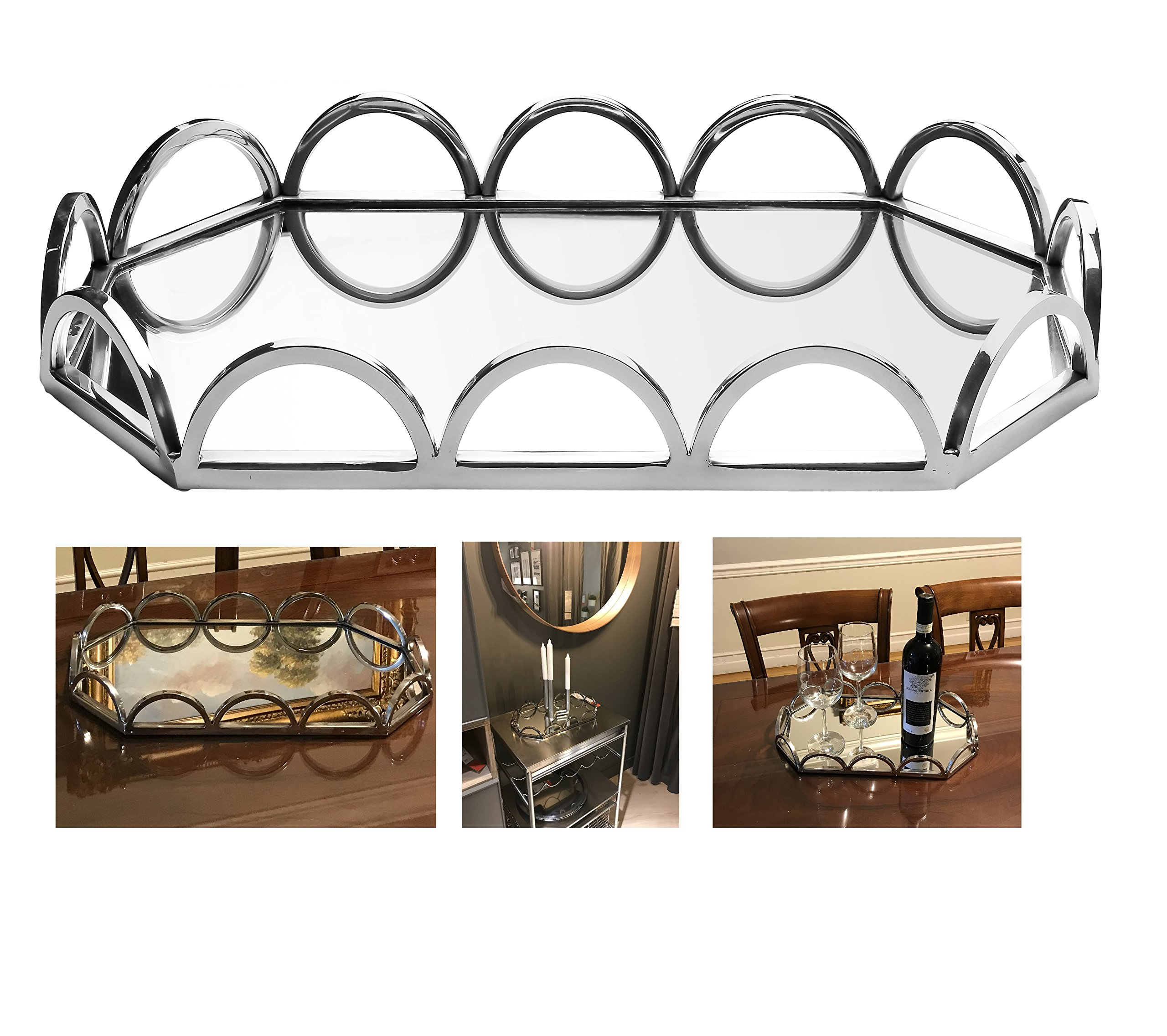 Elegant Mirrored Rectangular Silver Tray with Chrome Loop Rails Ideal for Whiskey Decanter, Candle Sticks, Vanity Set and Serving.