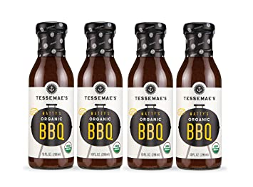 Tessemae's Organic BBQ Sauce 4 pack, Whole30 Certified, soy-free,  dairy-free, gluten-free, vegan, no