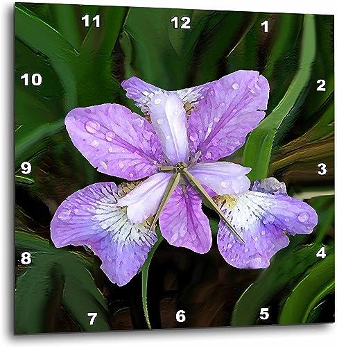3dRose 3D Rose Purple Iris-Wall Clock, 15-inch DPP_4123_3