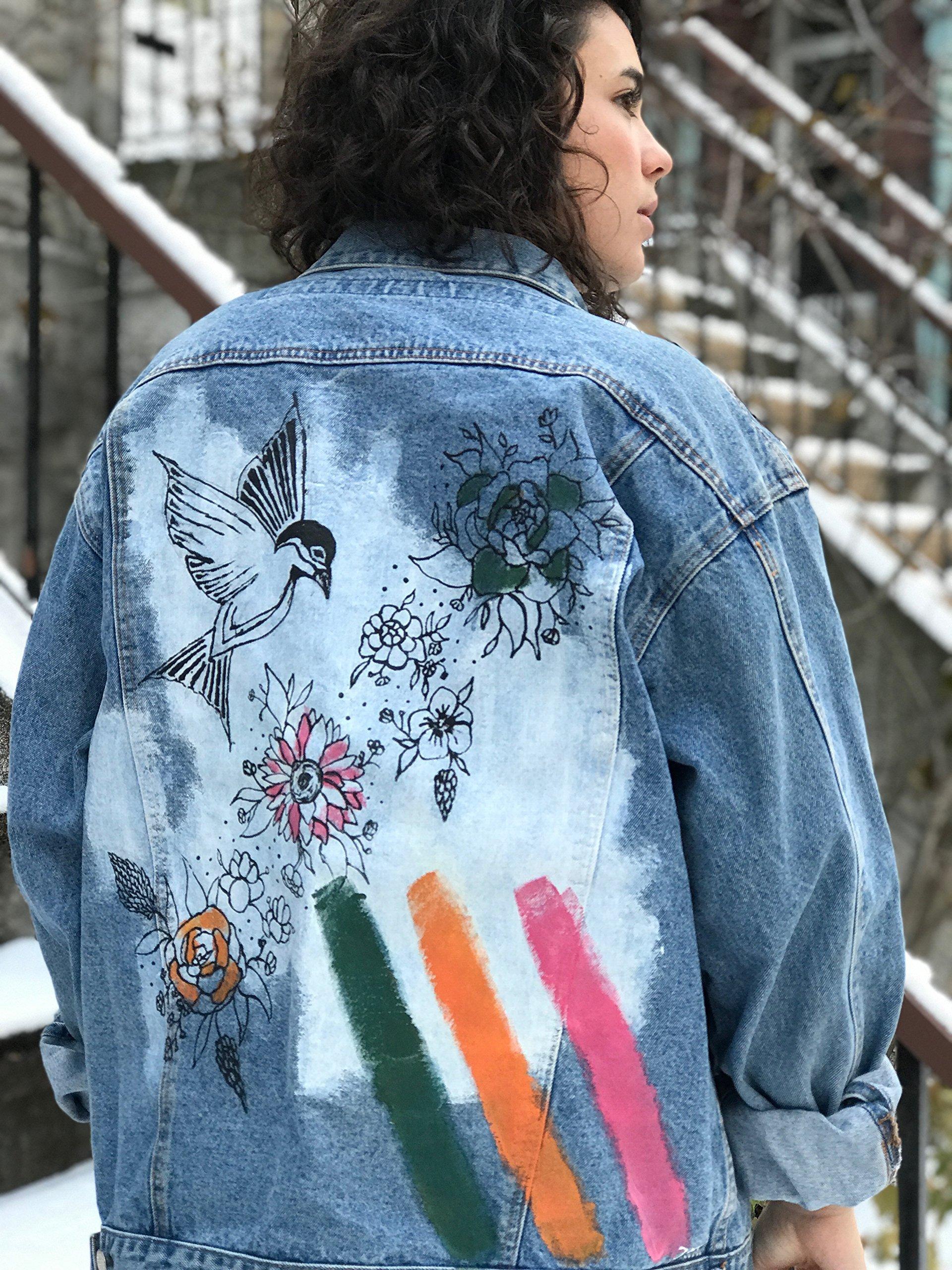 Women's Hand Painted Denim Jacket