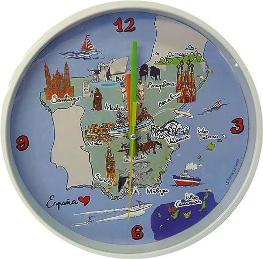 Nadal Reloj Grande Mapa España, Multicolor, 24,9 x 24,9 x 3,9 cm ...