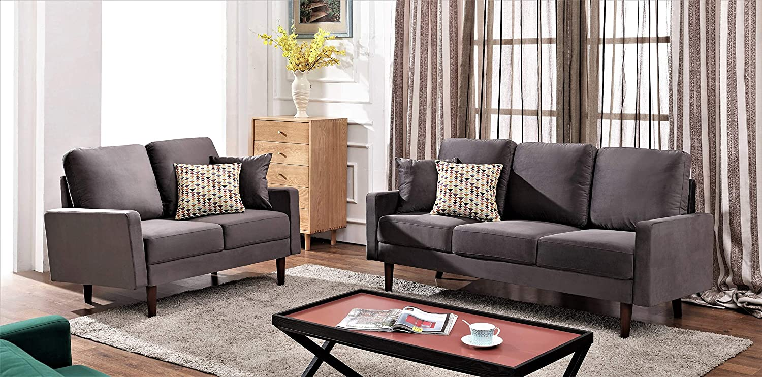 US Pride Furniture Sectional, 2PC, Grey
