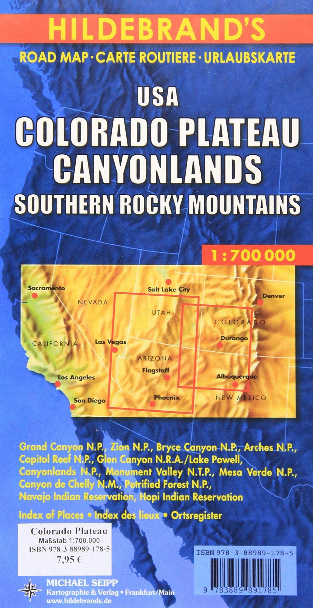 Hildebrand's Urlaubskarten, USA, Colorado Plateau, Canyonlands, Südliche Rocky Mountains (Hildebrand's USA maps)