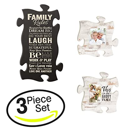 Amazon.com - This is Our Happy Place Family Rules Puzzle Piece ...
