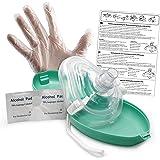 Lunata CPR Mascarilla de primeros auxilios con conexión de oxígeno, máscara para respiración artificial de emergencia, máscara de emergencia, máscara de bolsillo, máscara de reanimación