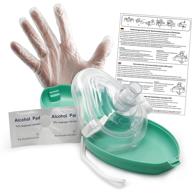 Lunata Laien CPR Erste Hilfe Maske MIT Sauerstoffanschluss, Notfallbeatmungsmaske, Notfallmaske, Beatmungsmaske mit Zubehö r und Ersthelfer-Anleitung Timejam