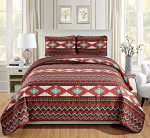 Rugs 4 Less Rustic Southwestern Queen/Full Quilt Set Native American Tribal Bedspread Utah Brown Full/Queen Quilt