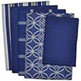 "DII Cotton Oversized Kitchen Dish Towels 18 x 28"" and Dishcloth 13 x 13"", Set of 5, Absorbent Washing Drying Dishtowels for Everyday Cooking and Baking-Nautical Blue"