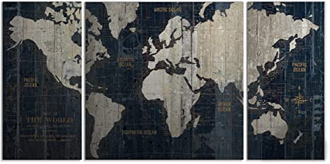Renditions Gallery Old World Map Blue 3 Piece Graphic Art Print Set On Wrapped Canvas 2448 Frameless