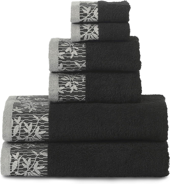 SUPERIOR Wisteria 500GSM, 100% Cotton, 6-Piece Towel Set, Black