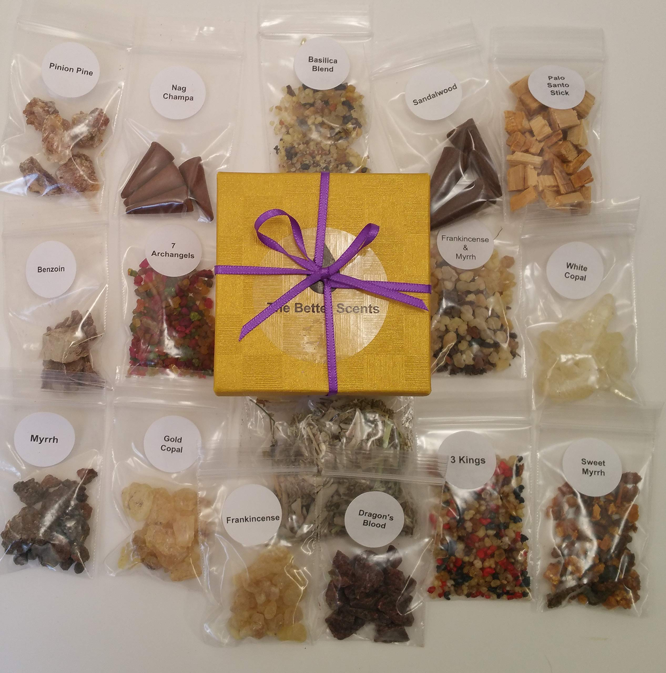 Resin Incense Variety Sampler Set- 16 Different scents 1/4 oz Samplers of resins- Herbs - Wood - Quality Made Cones. Beautifully Gift Boxed. All Natural Ingredients. The Best selections no fillers by The Better Scents (Image #1)