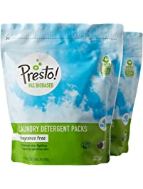 Amazon Brand - Presto! 94% Biobased Laundry Detergent Packs, Hypoallergenic and Fragrance Free, 90 Loads (2-pack, 45 each)