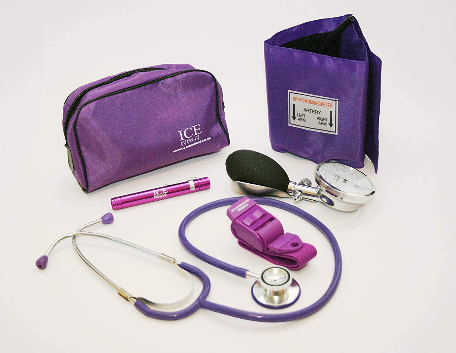 Purple Aneroid Blood Pressure Sphygmomanometer Monitor, Stethoscope, Pen light (Pen Torch) and Tourniquet - GP Set by ICE Medical