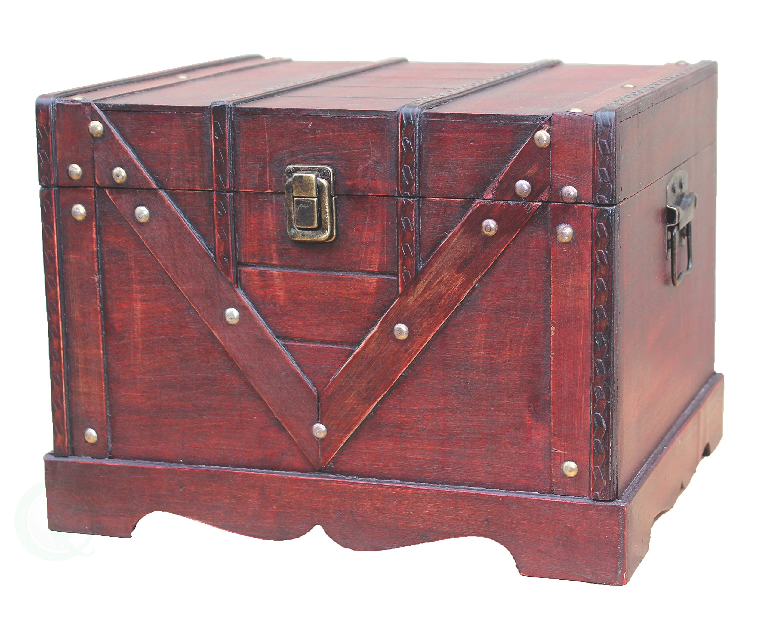 Vintiquewise Wooden Box Old Style Treasure Chest, Large by Vintiquewise