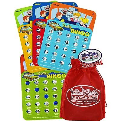 Toysmith Road Trip Bingo Cards Red, Blue, Green & Orange Gift Set Travel Bundle with Bonus Matty's Toy Stop Storage Bag - 4 Pack: Toys & Games
