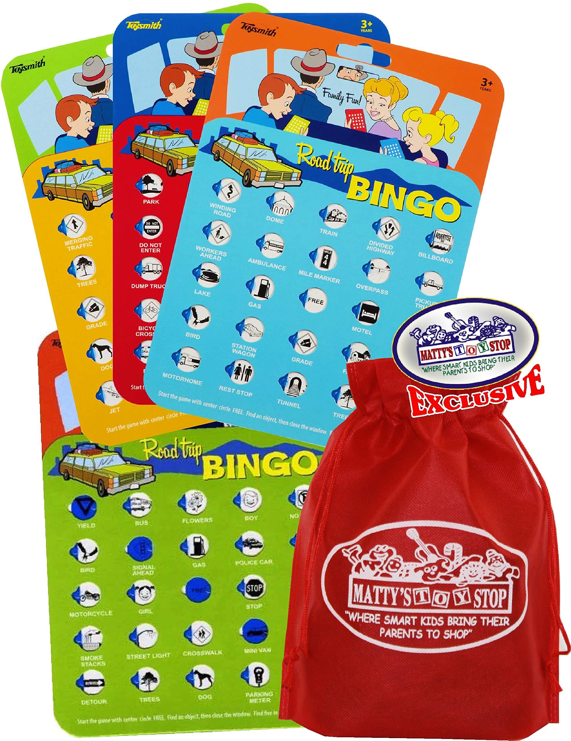 Toysmith Road Trip Bingo Cards Red, Blue, Green & Orange Gift Set Travel Bundle with Bonus Matty's Toy Stop Storage Bag - 4 Pack by Toysmith