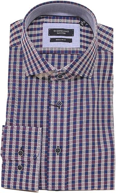 GIORDANO Camisa de algodón de guingán azul marino y vino ...