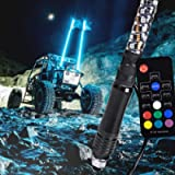 3ft Spiral LED Whip Light for UTV ATV [21 Modes] [20 Colors] [RF Wireless Remote] [Weatherproof] [USA Flag] LED Lighted…