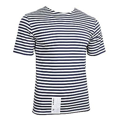 "7443b21d02 Genuine Russian Navy Blue TELNYASHKA Striped Short Sleeved T-Shirt Top  (36"" Chest"