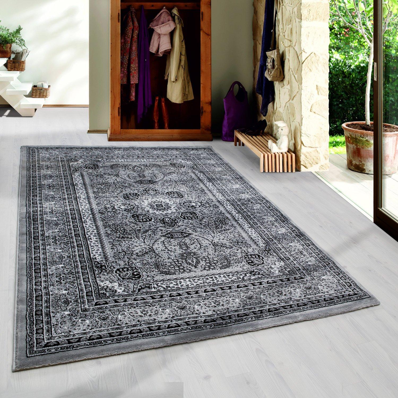 Klassiker Orient Design Teppich mit Bordüre Schwarz Grau Weiss Meliert Wohnzimmer Gaestezimmer Flur Küche ohne Fransen 6 Groessen, Größe 300x400 cm