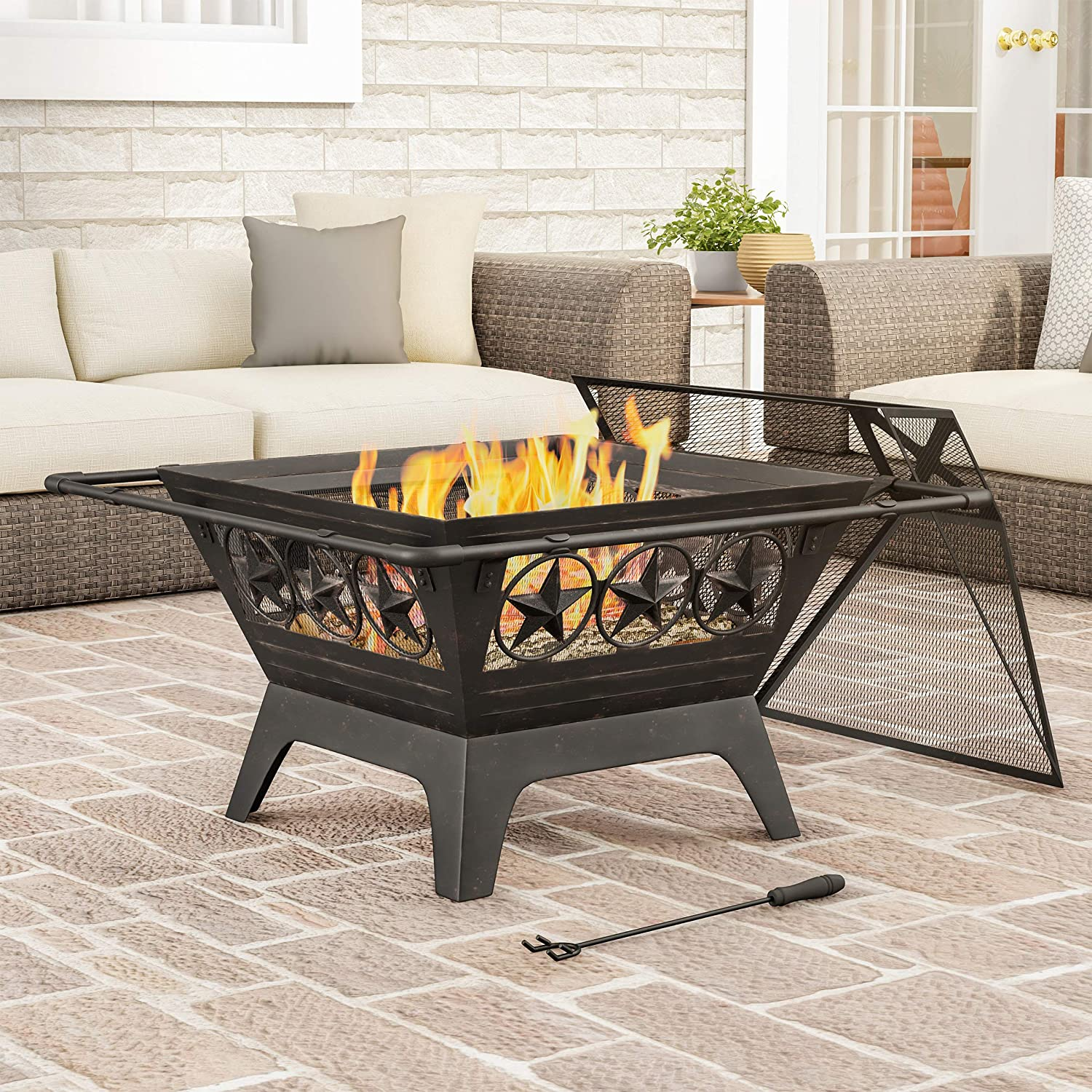 "Pure Garden 50-LG1203 Square Large Steel Bowl with Star Design, Mesh Spark Screen, Log Poker & Storage Cover 32"" Outdoor Deep Fire Pit, Black"