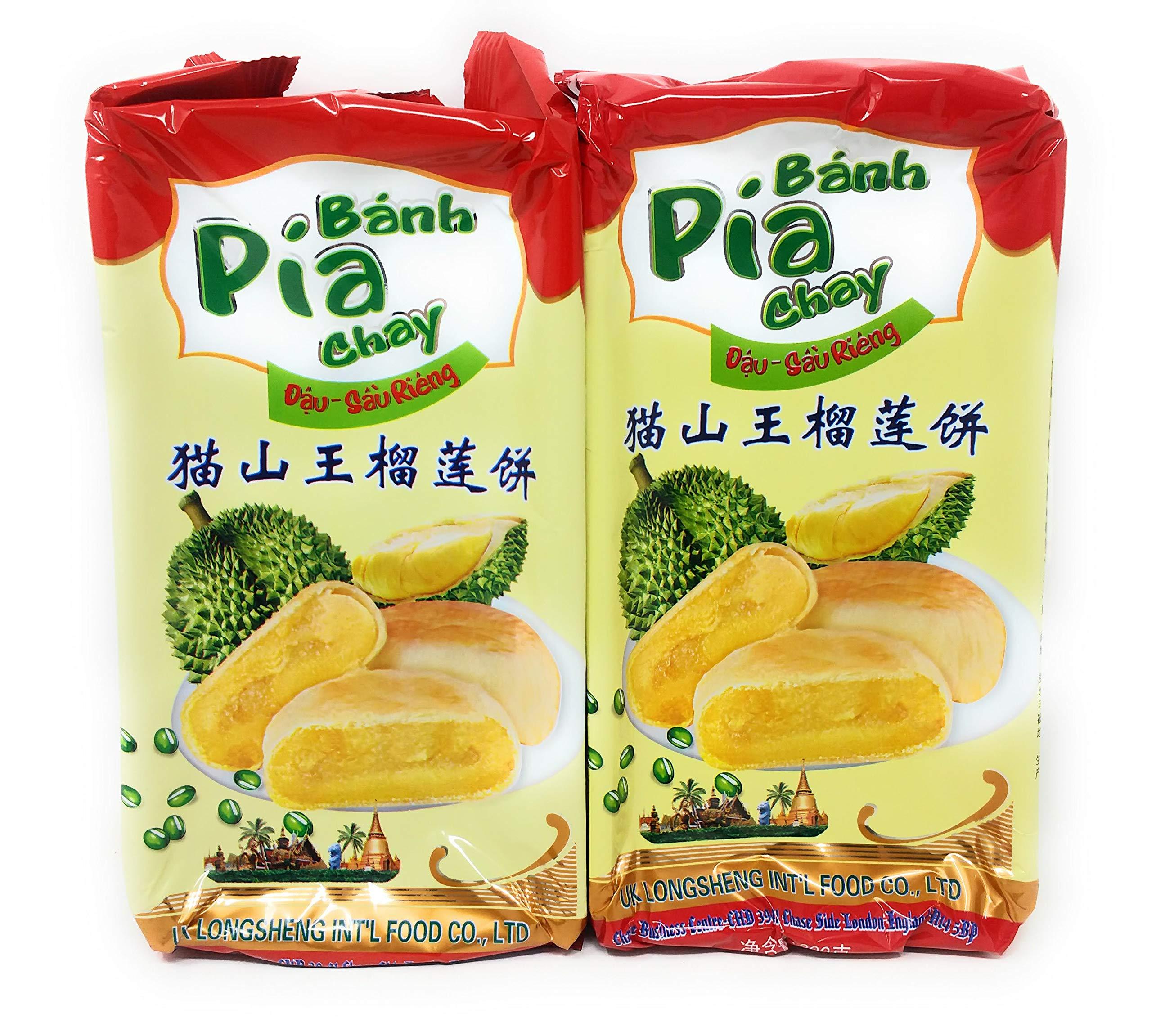 Banh Pia Chay Durian Cake 300g, 2 Pack by Banh Pia Chay