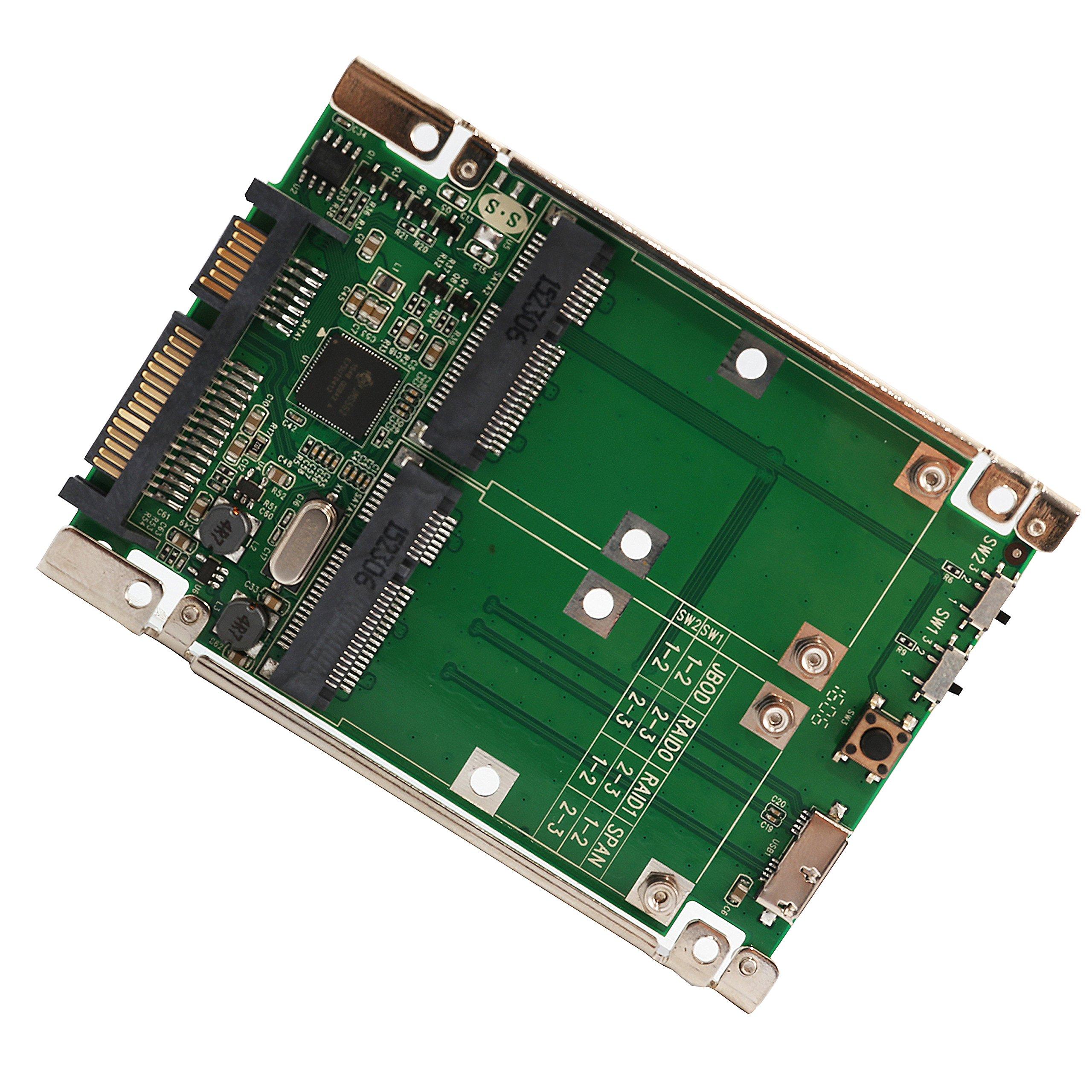 Syba Dual mSATA SSD to SATA III RAID 2.5-Inch Enclosure SY-ADA40090