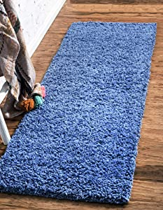 Unique Loom Solo Solid Shag Collection Modern Plush Periwinkle Blue Runner Rug (2' 2 x 6' 5)