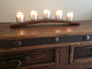 Napa Gift Store Wine Barrel Votive Candle Holder with 5 Candles & Glassware Included - Made from Genuine Reclaimed Wine Barrel Staves
