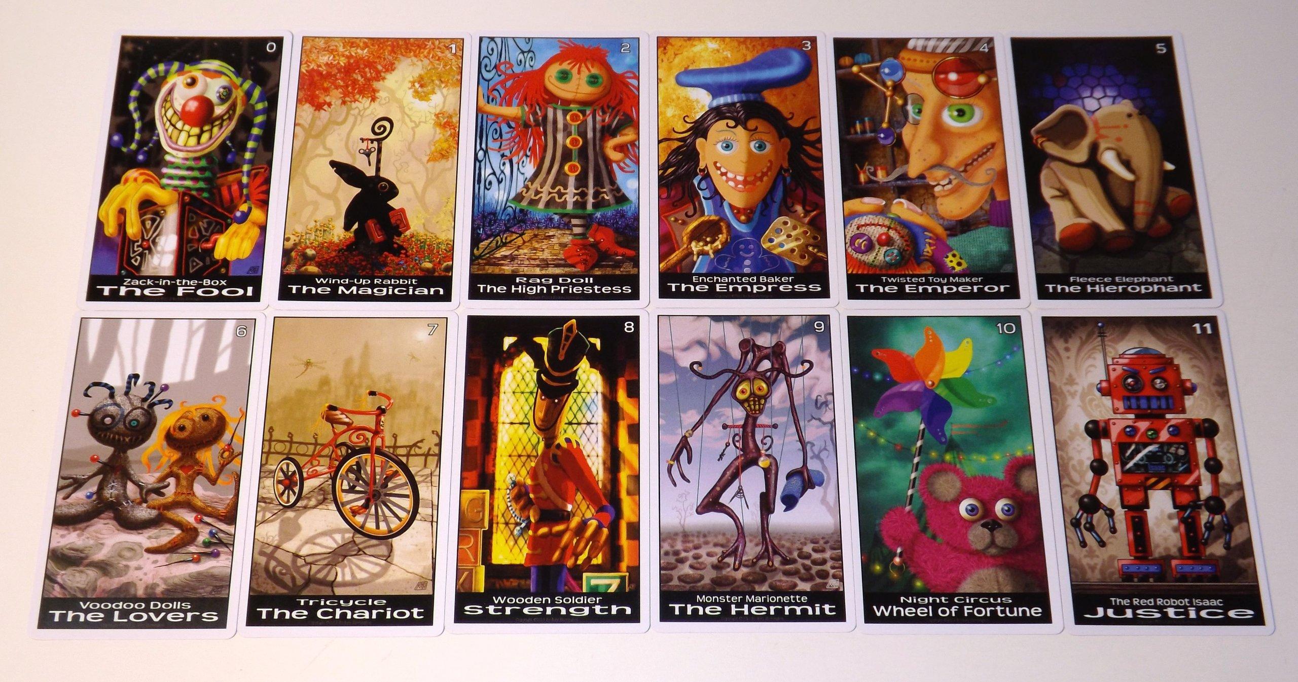 Twisted Toyland Tarot Cards - 22 Card Major Arcana Deck (With Handmade Tarot bag) by Oracles Forest Studios (Image #3)