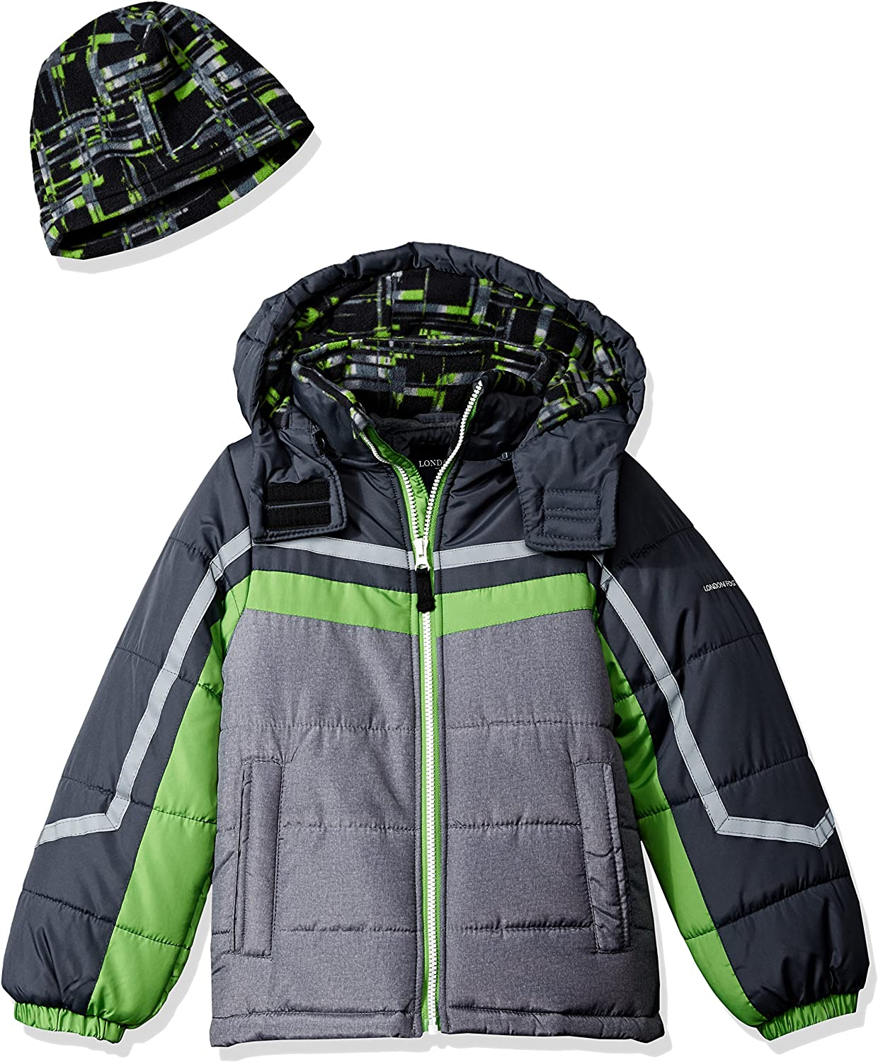 LONDON FOG Boys' Toddler Active Heavyweight Jacket with Ski Cap