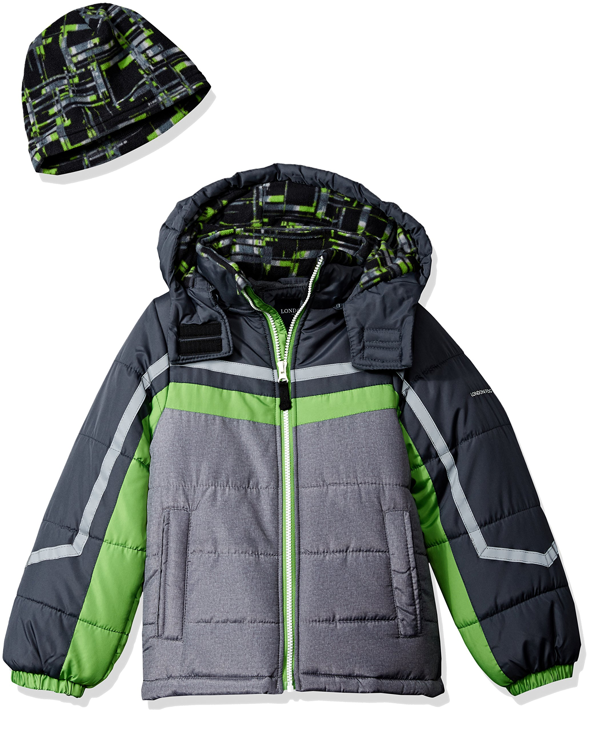London Fog Toddler Boys' Active Heavyweight Jacket with Ski Cap, Super Green, 3T by London Fog
