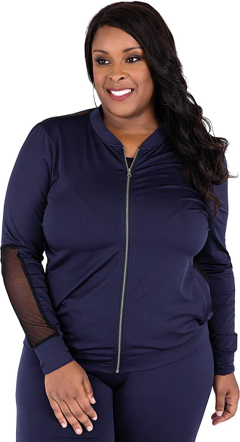 Poetic Justice Plus Size Curvy Women S Navy Zip Up Activewear Tracksuit Jacket At Amazon Women S Clothing Store