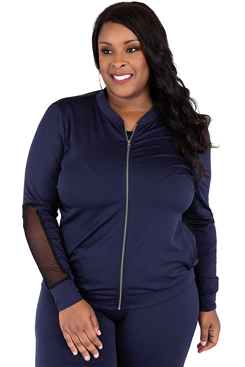 703fb55621c Poetic Justice Plus Size Curvy Women s Navy Zip Up Activewear Tracksuit Jacket  Size 1X at Amazon Women s Clothing store