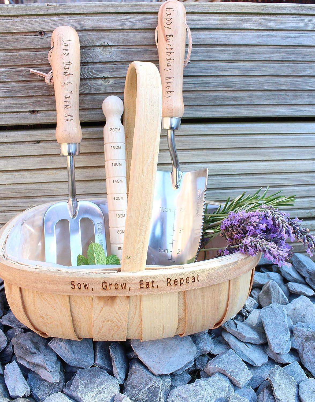 Personalised Gardening Tool Set Trowel Dibber and Trug Fork