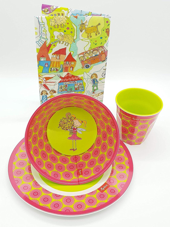 Sigikid Melaminset Florentine Kindergeschirr Geschenkset Melamin-Becher Melamin-Schü ssel Melamin-Teller Farbe pink/grü n