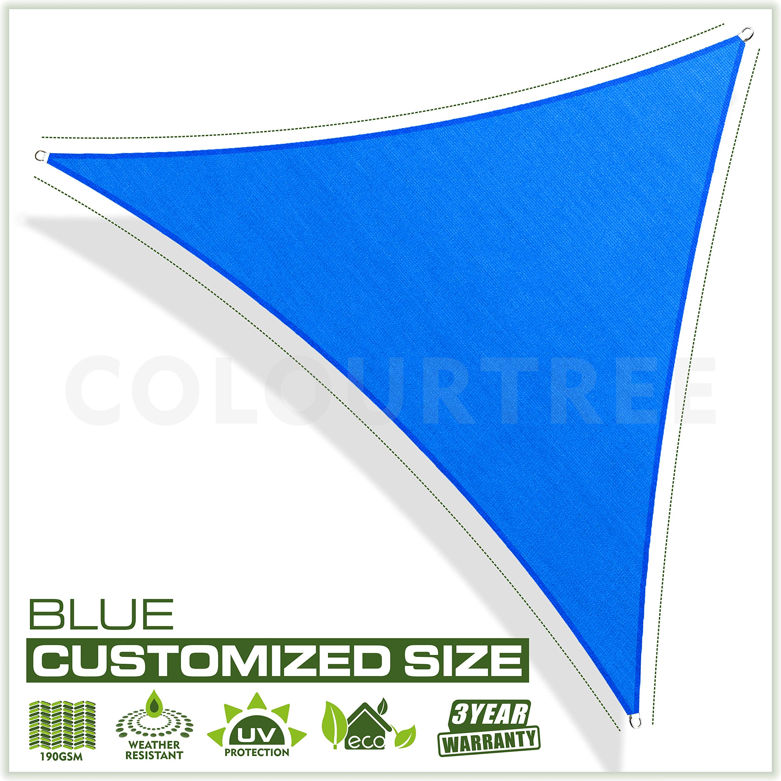 ColourTree Customized Size Order to Make Sun Shade Sail Canopy Mesh Fabric UV Block Right Triangle - Commercial Standard Heavy Duty - 190 GSM - 3 Years Warranty Right Triangle 12' x 19' x 22.5' Blue
