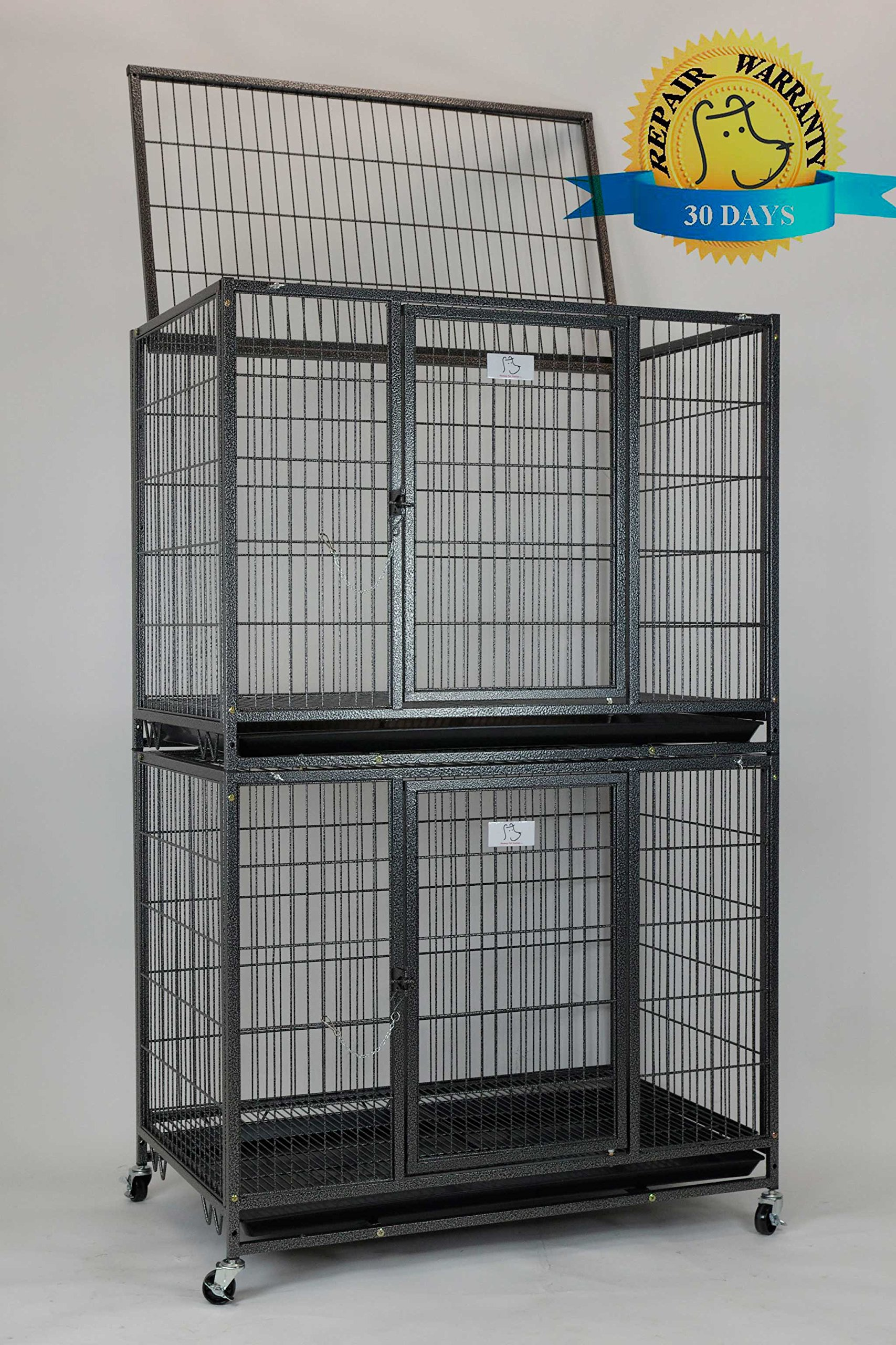 New 37'' Homey Pet Open Top Heavy Duty Dog Pet Cage Kennel w/ Tray, Floor Grid, and Casters