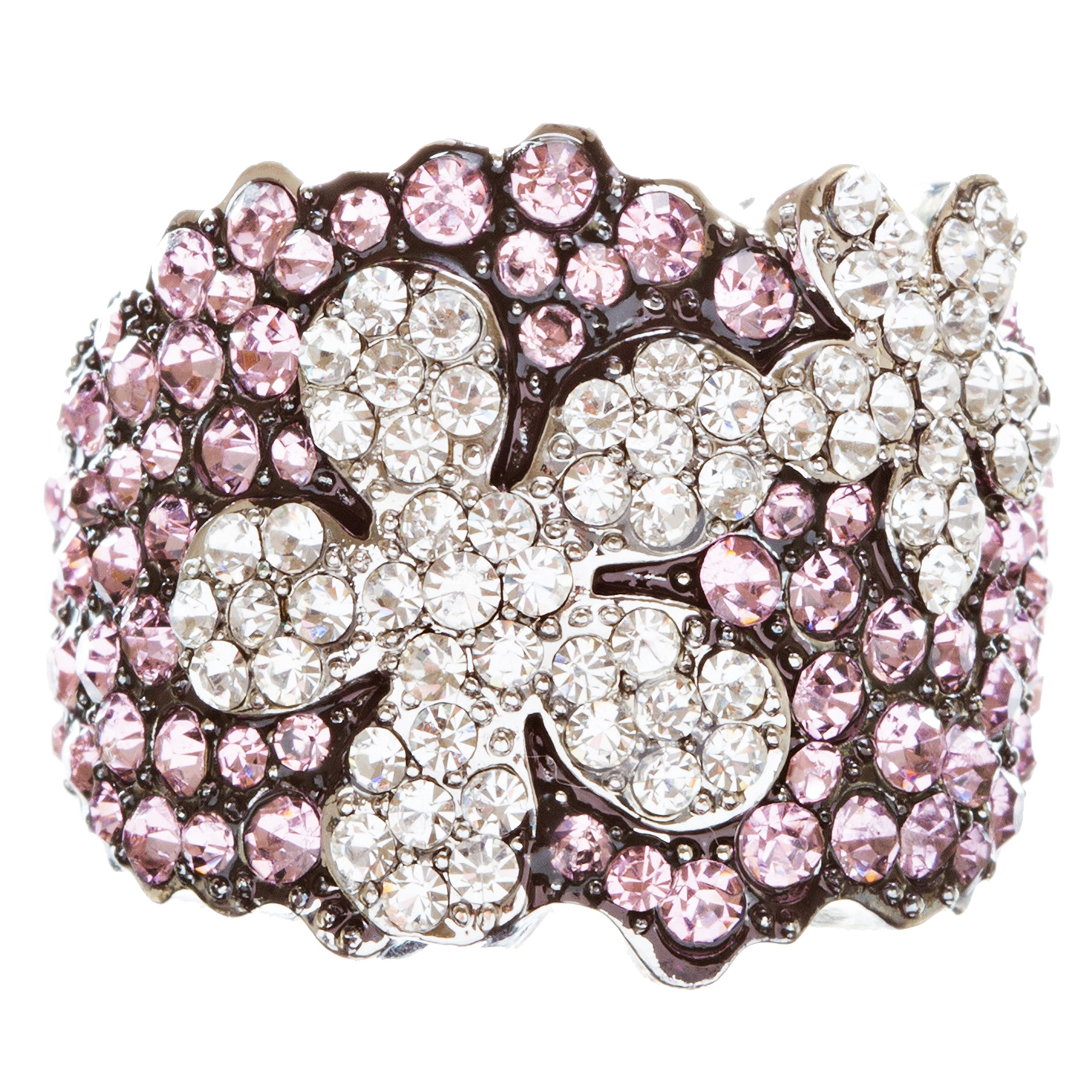 ACCESSORIESFOREVER Beautiful Flower Crystal Rhinestone Stretch Adjustable Cocktail Ring Silver R150 Pink